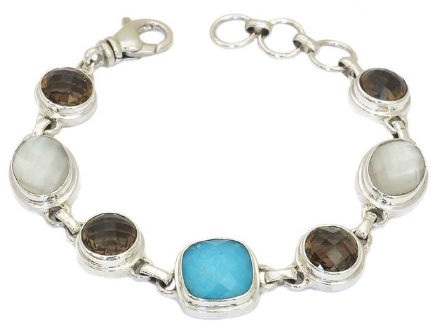 Indiri Collection PADMA Turquoise, Smoky Quartz, Mother of Pearl Mixed Station Bracelet