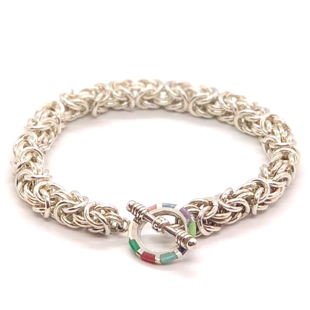 Chez Clouchez Sterling Silver Byzantine Bracelet with Inlaid Stone Toggle Clasp