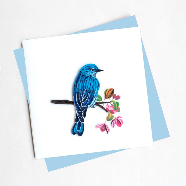 Mountain Blue Bird Quilling Card