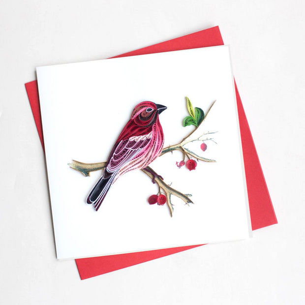 Purple Finch Quilling Card
