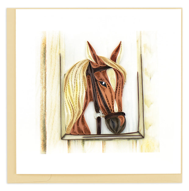 Horse in Stable Quilling Card