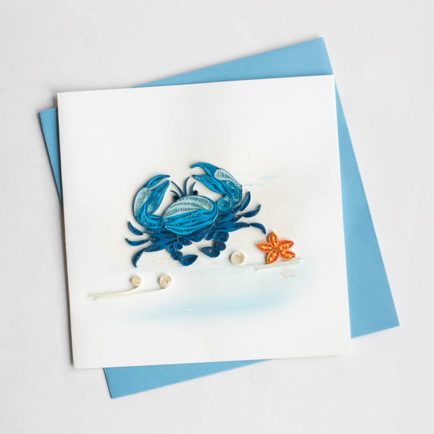 Blue Crab Quilling Card