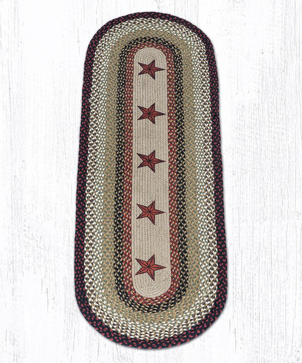 Capitol Earth Rugs Barn Stars Oval Patch Rug, 2' x 6'