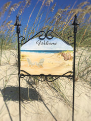 Heritage Gallery Beach Chairs Welcome Garden Sign