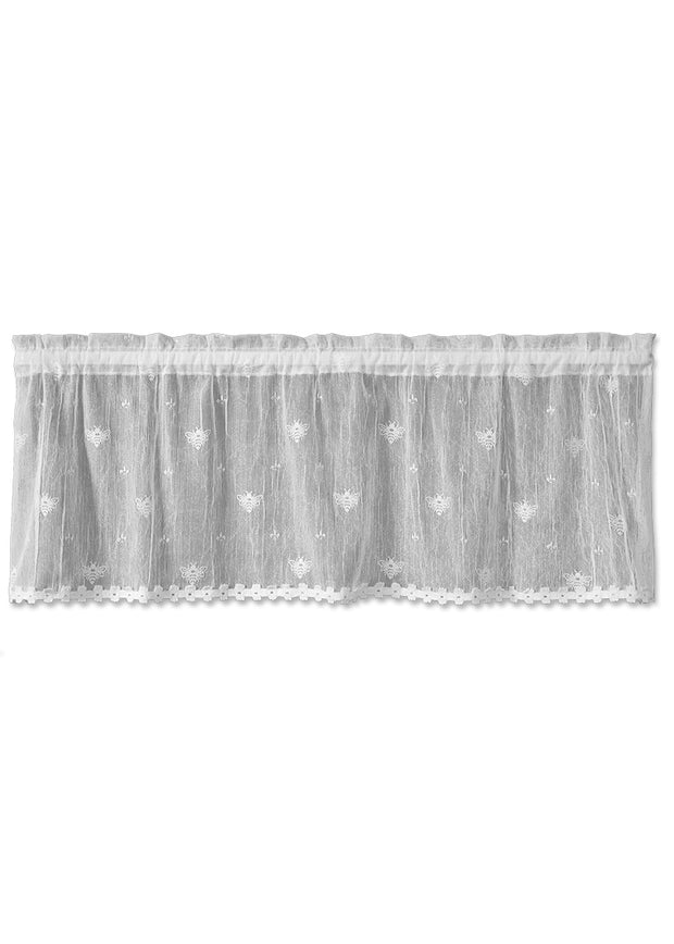 Heritage Lace Bee Valance with Trim - White