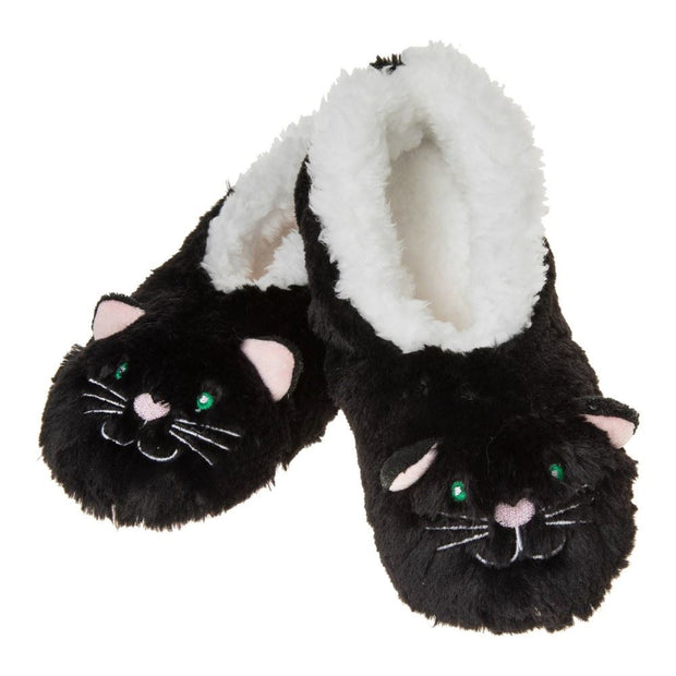 Black Cat Furry Foot Pals Snoozies Slippers for Toddlers