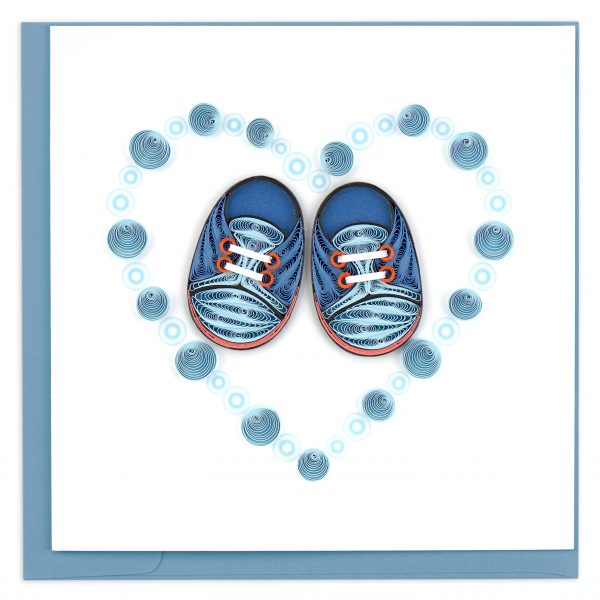 Blue Baby Booties Quilling Card