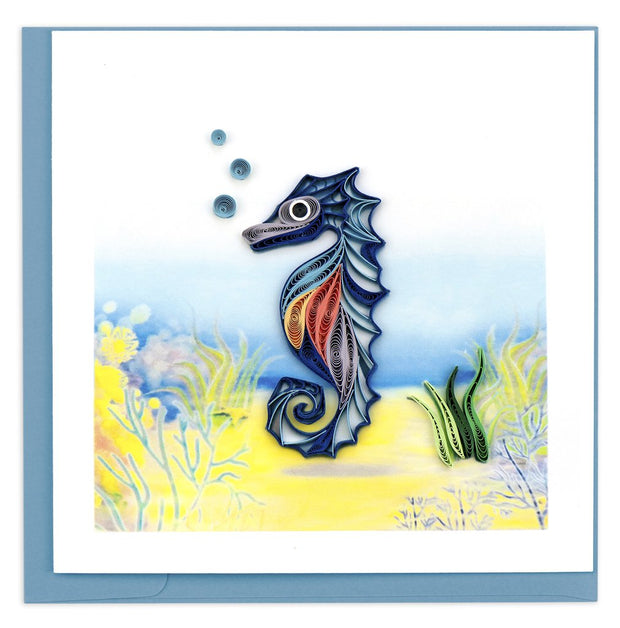 Blue Seahorse Quilling Card