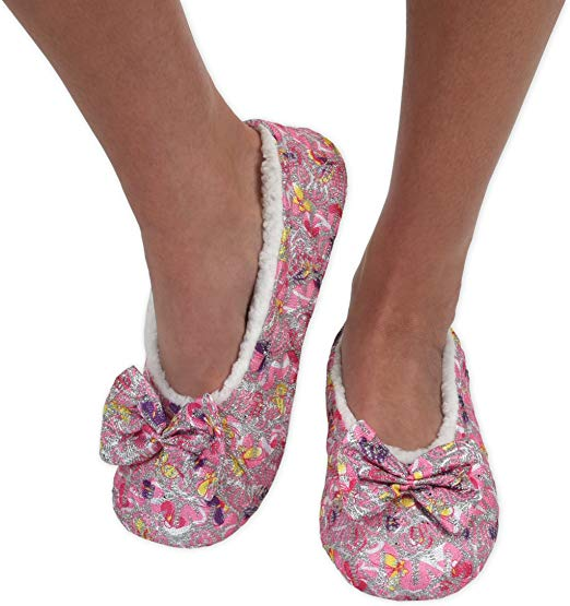 Pink Brocade Snoozies Slippers