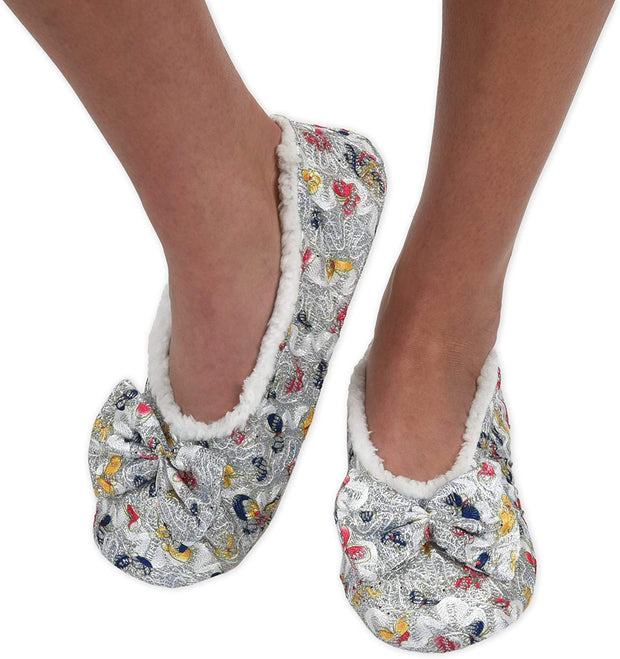 Silver Brocade Snoozies Slippers
