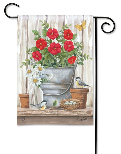 Studio-M Bucket of Blooms Garden Flag