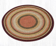 Capitol Earth Rugs Burgundy/Mustard/Ivory Traditional Braided Jute Rug, 4'Round