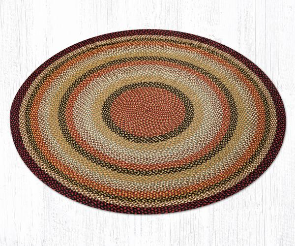 Capitol Earth Rugs Burgundy/Mustard/Ivory Traditional Braided Jute Rug, 5.75' Round