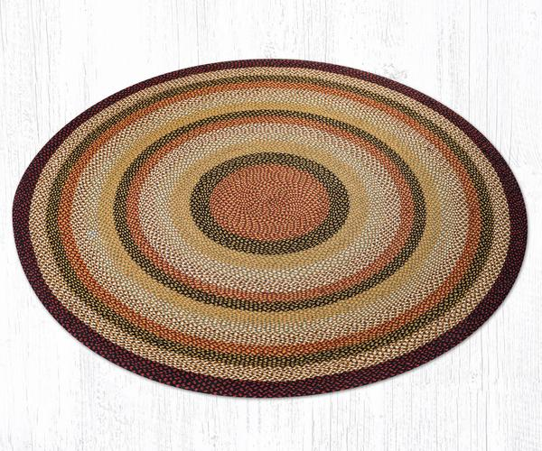 Capitol Earth Rugs Burgundy/Mustard/Ivory Traditional Braided Jute Rug, 7.75' Round