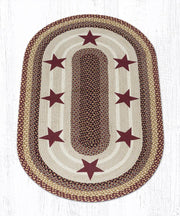 Capitol Earth Rugs Burgundy Stars on Gold Oval Patch Rug