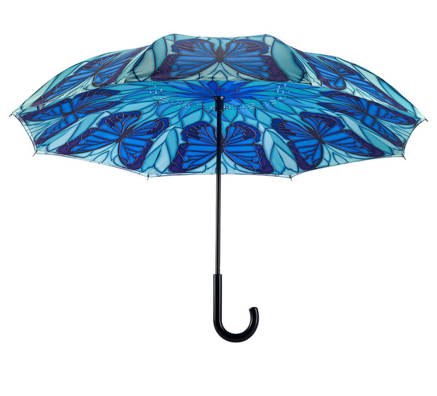 Galleria Stained Glass Butterfly Reverse Close Umbrella