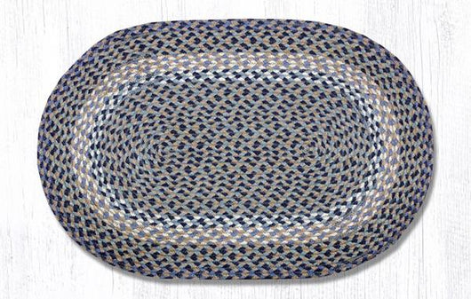 Capitol Earth Rugs Blue/Natural Traditional Braided Oval Rug, 20