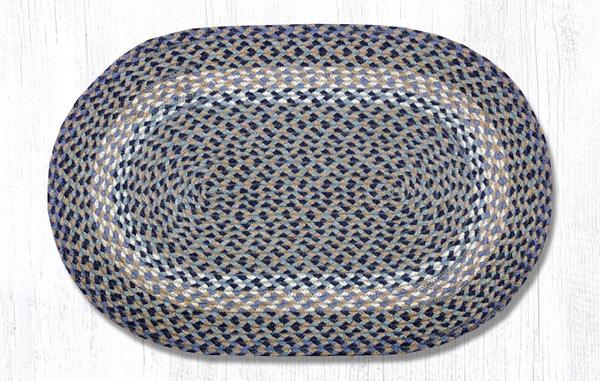 "Capitol Earth Rugs Blue/Natural Traditional Braided Oval Rug, 20"" x 30"""