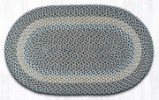 "Capitol Earth Rugs Blue/Natural Traditional Braided Oval Rug, 27"" x 45"""