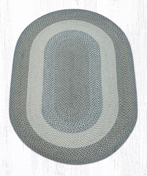 Capitol Earth Rugs Blue/Natural Traditional Braided Oval Rug, 5' x 8'