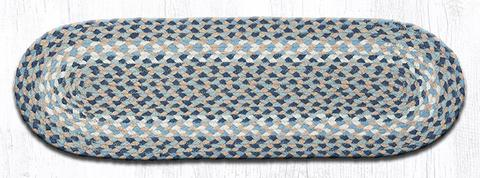 "Capitol Earth Rugs Braided Jute Stair Tread, 8.25"" x 27"" Oval, Blue/Natural"