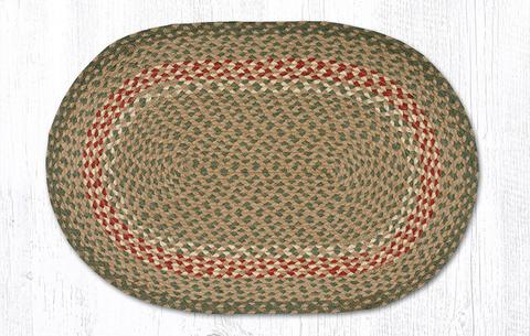 "Capitol Earth Rugs Green/Burgundy Traditional Braided Oval Rug, 20"" x 30"""