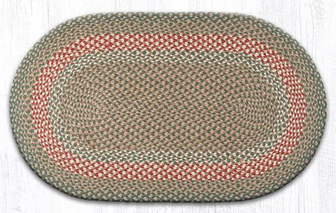 "Capitol Earth Rugs Green/Burgundy Traditional Braided Oval Rug, 27"" x 45"""