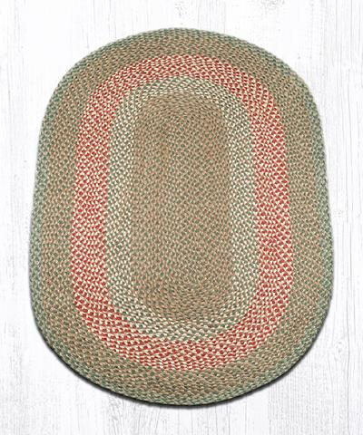 Capitol Earth Rugs Green/Burgundy Traditional Braided Oval Rug