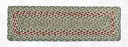 "Capitol Earth Rugs Braided Jute Stair Tread, 8.5"" x 27"" Rectangle, Green/Burgundy"