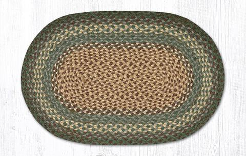 Capitol Earth Rugs Dark Green Traditional Braided Jute Rug