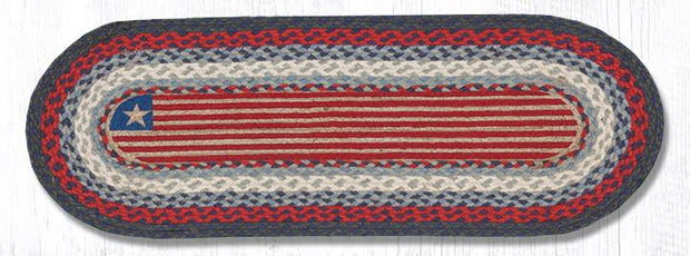"Capitol Earth Rugs Flag Printed Jute Table Runner, 13"" x 36"" Oval"