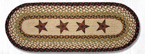 "Capitol Earth Rugs Barn Stars Printed Jute Table Runner, 13"" x 36"" Oval"