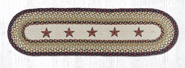 Barn Stars Oval Printed Jute Table Runner