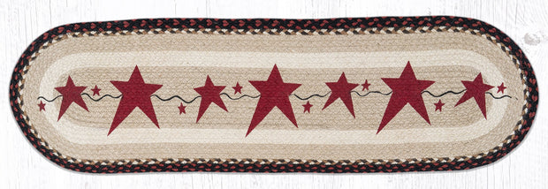 "Capitol Earth Rugs Burgundy Primitive Stars Printed Jute Table Runner, 13"" x 48"" Oval"