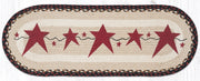 "Capitol Earth Rugs Burgundy Primitive Stars Printed Jute Table Runner, 13"" x 36"" Oval"