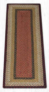 Burgundy/Mustard Traditional Braided Rugs - Oval, Oblong, & Round