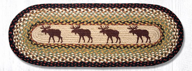 "Capitol Earth Rugs Moose Printed Jute Table Runner, 13"" x 36"" Oval"