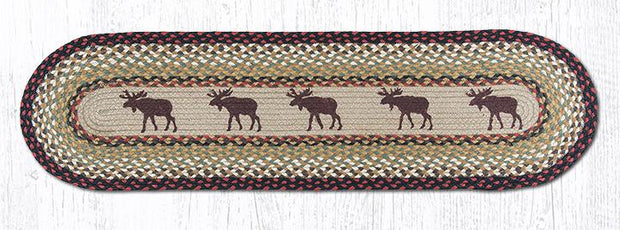 "Capitol Earth Rugs Moose Printed Jute Table Runner, 13"" x 48"" Oval"