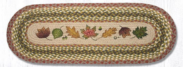 "Capitol Earth Rugs Autumn Leaves Printed Jute Table Runner, 13"" x 36"" Oval"
