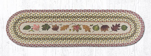 "Capitol Earth Rugs Autumn Leaves Printed Jute Table Runner, 13"" x 48"" Oval"