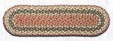"Capitol Earth Rugs Braided Jute Stair Tread, 8.25"" x 27"" Oval, Olive/Burgundy/Grey"