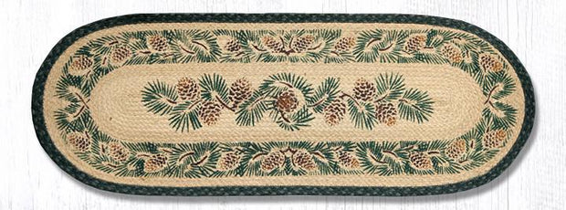 "Capitol Earth Rugs Pinecones Printed Jute Table Runner, 13"" x 36"" Oval"