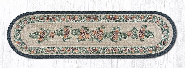 "Capitol Earth Rugs Pinecones Printed Jute Table Runner, 13"" x 48"" Oval"