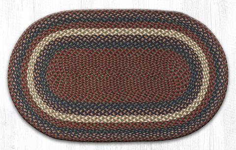 "Capitol Earth Rugs Burgundy/Grey Traditional Braided Rug, 27"" x 45"""