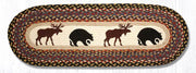 "Capitol Earth Rugs Bear & Moose Printed Jute Table Runner, 13"" x 36"" Oval"