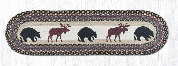 "Capitol Earth Rugs Bear & Moose Printed Jute Table Runner, 13"" x 48"" Oval"