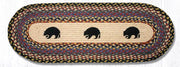 "Capitol Earth Rugs Black Bears Printed Jute Table Runner, 13"" x 36"" Oval"