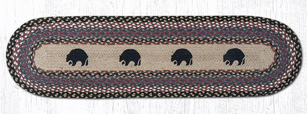 "Capitol Earth Rugs Black Bears Printed Jute Table Runner, 13"" x 48"" Oval"
