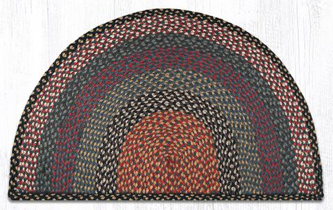 "Capitol Earth Rugs Braided Jute Slice Rug, 24"" x 39"", Burgundy/Blue/Grey"