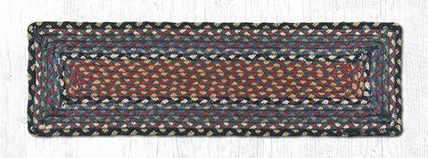"Capitol Earth Rugs Braided Jute Stair Tread, 8.5"" x 27"" Rectangle, Burgundy/Blue/Grey"